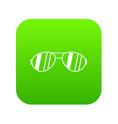 glasses icon digital green vector image
