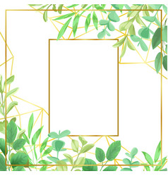 Goldtn frame and greenery vector