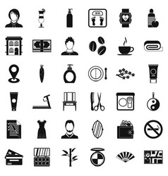 hairdressing tool icons set simple style vector image