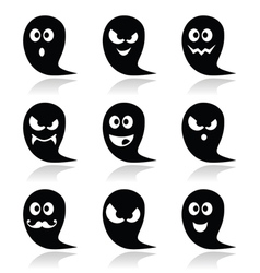 Halloween ghost icons set - scary friendly vector