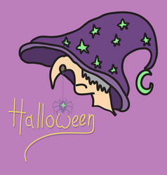 Halloween grungy witch in hat lettering greeting vector