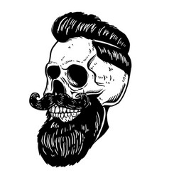 hand drawn of bearded skull isolated on white vector image