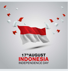Happy independence day indonesia 3d flag vector