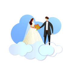 happy newlywed loving couple standing on clouds vector image