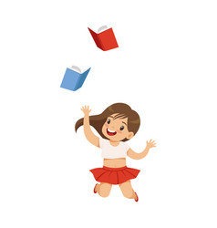 Happy smiling little girl having fun with books vector