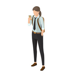 High school pupil in black trousers shirt and tie vector