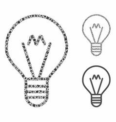 Hint lamp mosaic icon inequal parts vector