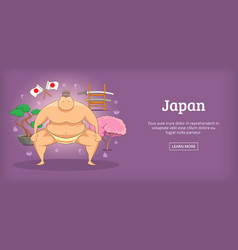 japan banner horizontal sumo cartoon style vector image