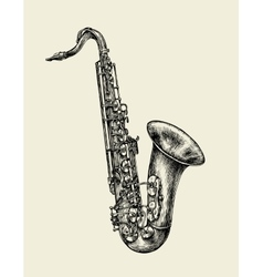 Jazz music Hand drawn sketch saxophone musical vector image