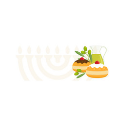 jewish holiday of hanukkah sufganiyot doughnuts vector image