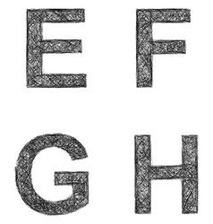 Line art font set - letters E F G H vector image