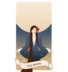 Major arcana tarot cards the moon beautiful girl vector