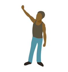 man protest on the street icon cartoon style vector image