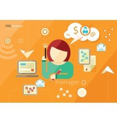 Manager profession Workplace office desk vector