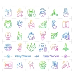 Mega Christmas icons set Trendy gradient line vector image