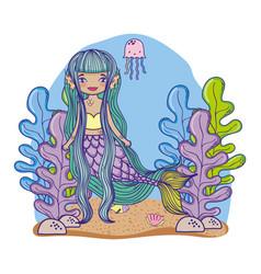 mermaid swimming undersea vector image