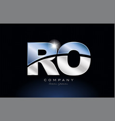 Metal blue alphabet letter ro r o logo company vector