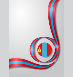 Mongolian flag wavy background vector