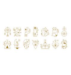 Mystical symbols boho ethnic and alchemic icons vector