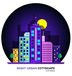 night urban cityscape flat design vector image