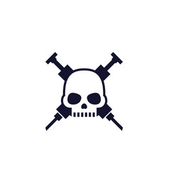 overdose icon with skull vector image
