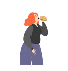 overweight girl eating a burger bulimia concept vector image