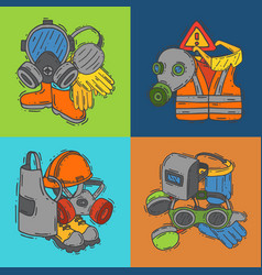 Personal protective equipment for safe work vector