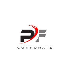 Pf modern letter logo design with swoosh vector