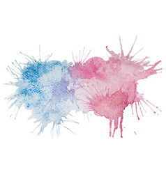 pink and blue watercolor splash stain vector image