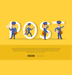 post conceptual web banner with cartoon postman vector image