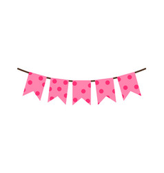 Princess party pink flags vector