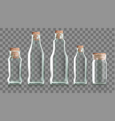 realistic transparent clear bottle with cork vector image