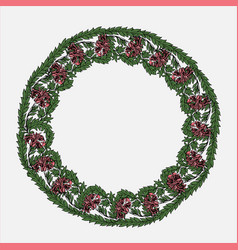 Round garland with tulips and leaves vector