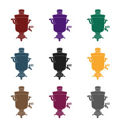 samovar icon in black style isolated on white vector image