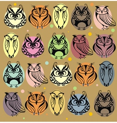 Seamless colourfull owl pattern vector
