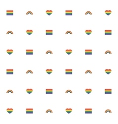 Seamless pattern with rainbow heart and flag for vector