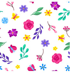 Seamless pattern with spring flowers beautiful vector