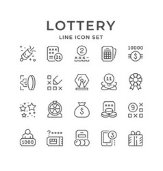 set line icons lottery vector image