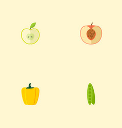 set of dessert icons flat style symbols with peas vector image