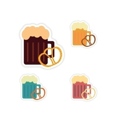 Set of paper stickers on white background glass vector