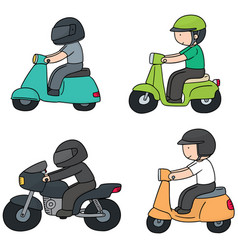 Set of riding motorcycle vector