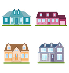 set suburban houses on white background vector image