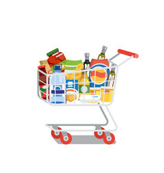 shopping cart full of food isolated flat vector image