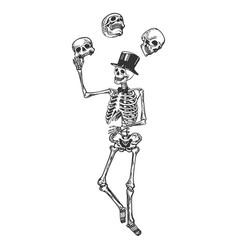 Skeleton juggles skulls engraving vector