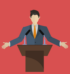 Speaker speaking on a stage with microphones vector