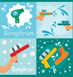 squirt gun water banner concept set flat style vector image