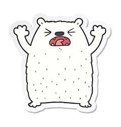 Sticker of a cartoon polar bear roaring vector