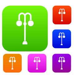 Street lamp set collection vector