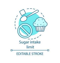 Sugar intake limit concept icon vector