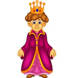 Sweet queen cartoon standing with smile vector